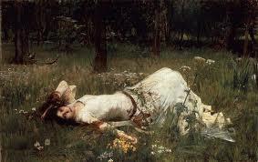 lying on grass rossetti
